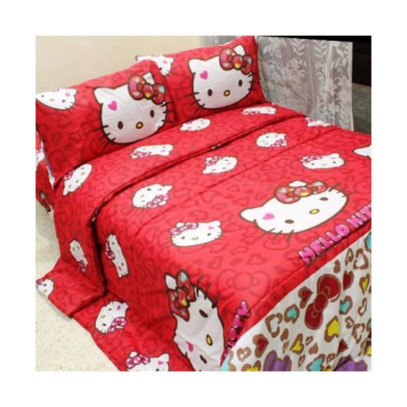 harga Jaxine Sprei Katun Motif Hello Kitty Leopard Merah Set Sprei Blibli.com