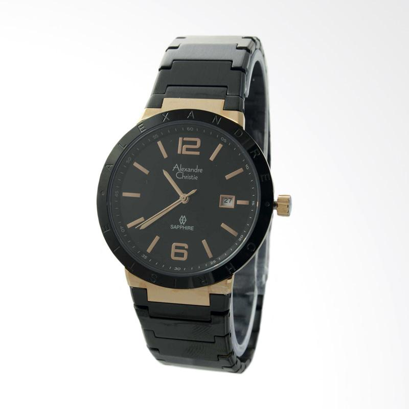 Alexandre Christie Stainless Steel Jam Tangan Pria - Black Rose Gold 8313 MDBBRBA