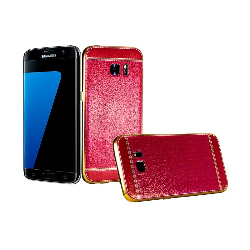 Fashion Luxury Leather Chrome Softcase Casing for Samsung S7 Edge - Red