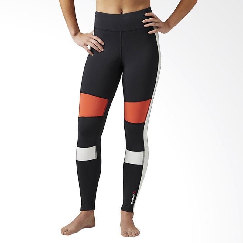Reebok Speedwick Color Block Legging Celana Olahraga Wanita - Black Ox Red B45921