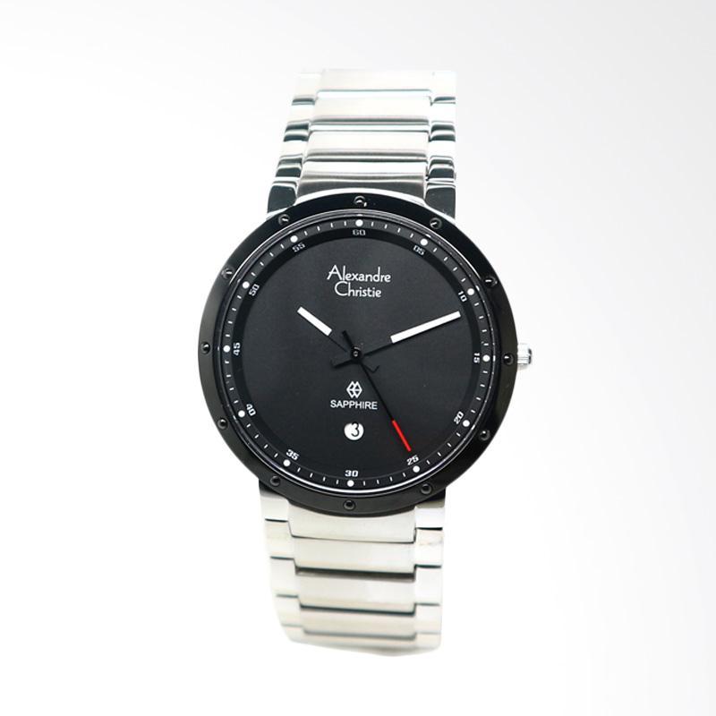 Alexandre Christie Jam Tangan Pria - Silver Black 8229