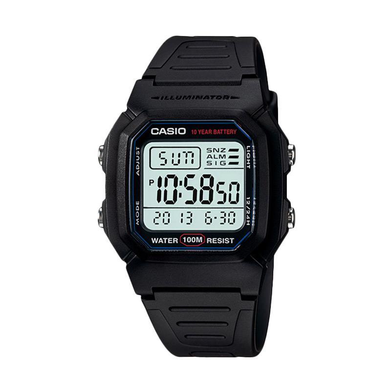 Casio Digital Strap Rubber Jam Tangan Pria - Black W-800H-1AV