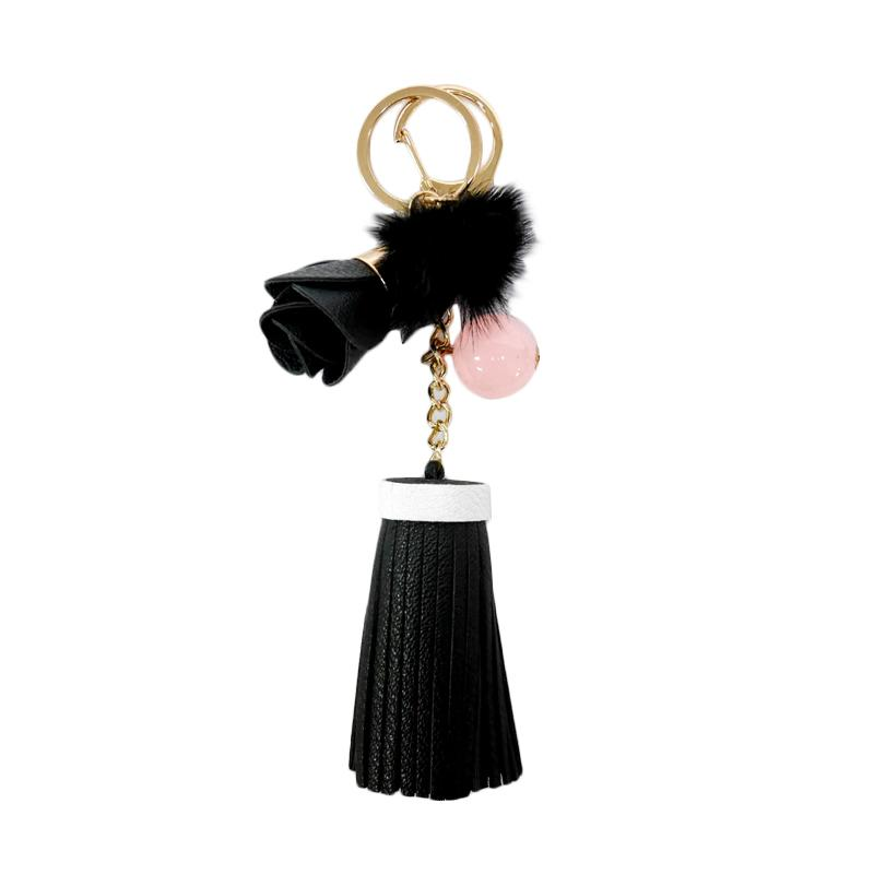 SIV Leather Keychain Bunga 01 Gantungan Kunci - Black [KB05]