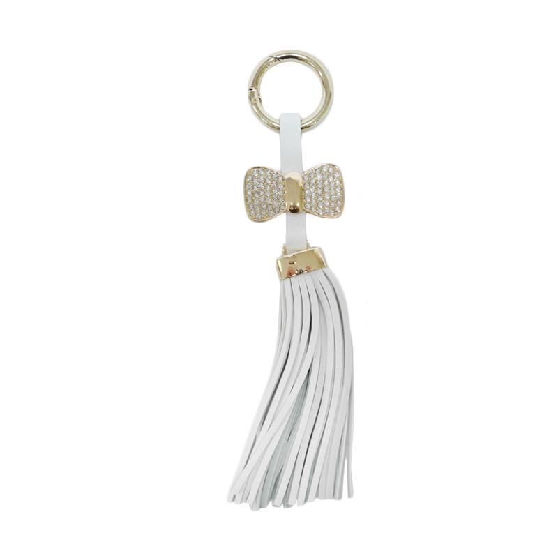 SIV GT-RK05 Rumbai Ribbon Plus Manik Keychain Gantungan Kunci - White