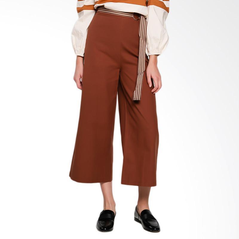 Papercut Fashion GZ 02 KE ER 50332 Linen Long Pants Celana Wanita with Stripe Belt - Brown