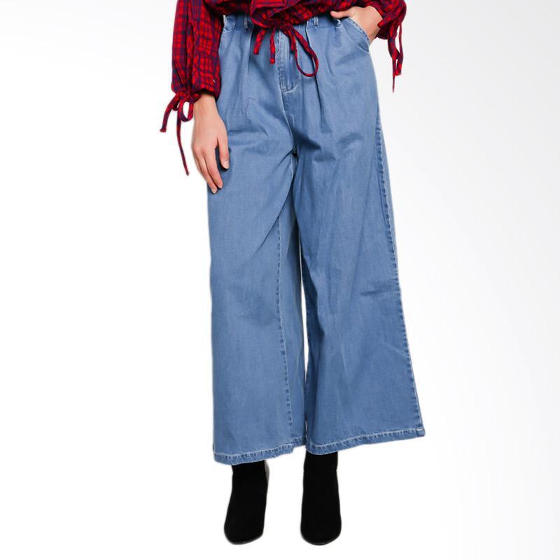 Papercut Fashion GZ 02 KE ER 1778 Denim Long Kulot Pants Celana Wanita with Belt - Light Blue