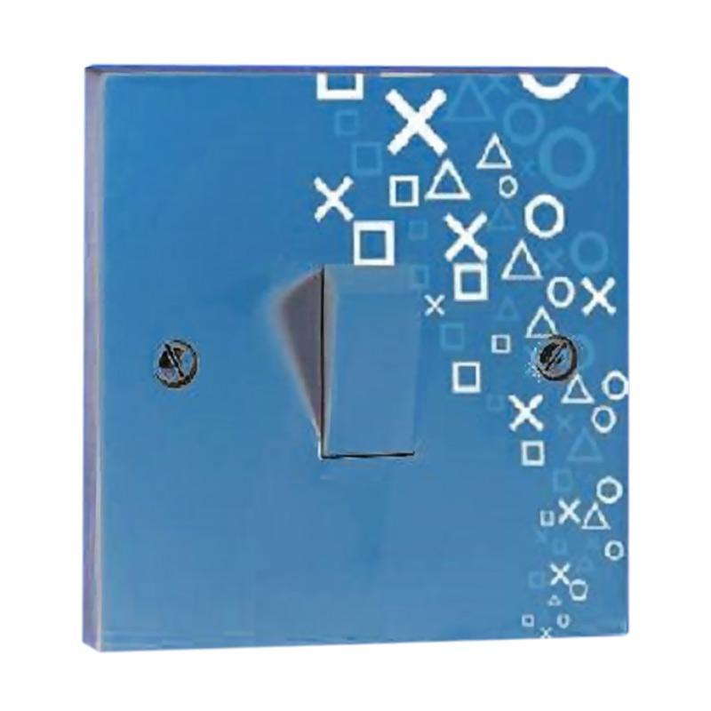 OEM Motif Silang Bulat Saklar Lampu Sticker - Biru