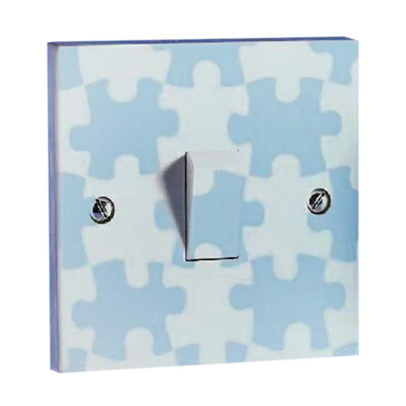 OEM Motif Puzzle Saklar Lampu Sticker - Biru