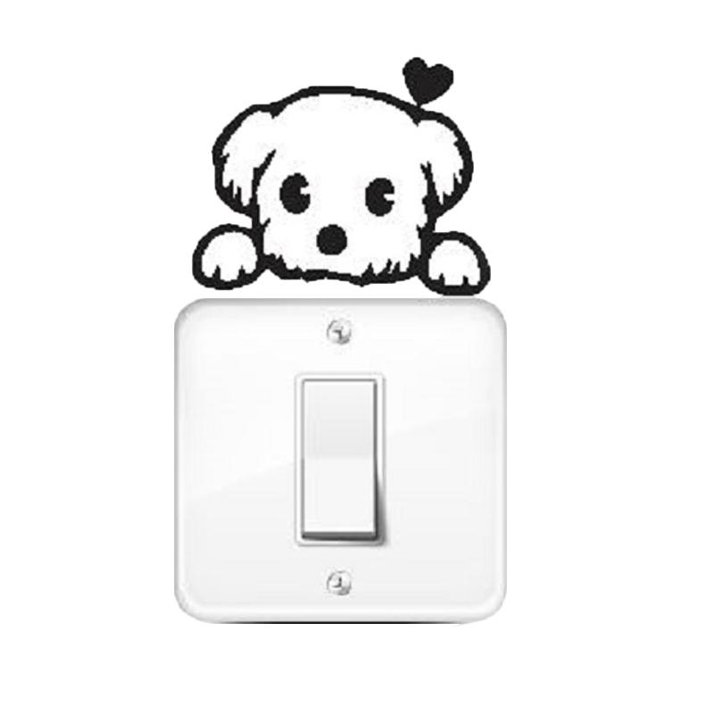OEM Motif Puppy Dog Dekorasi Tombol Lampu Saklar Wall Sticker - Hitam