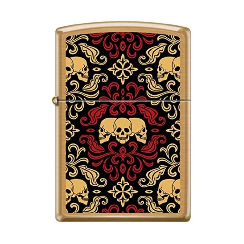 Zippo Day Of The Dead Skulls Ornament Tattoo Art Brushed Brass Windproof Lighter