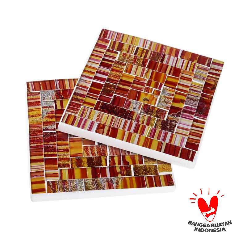 Kerajinan Lokal Rect Mozaik Glass Coaster