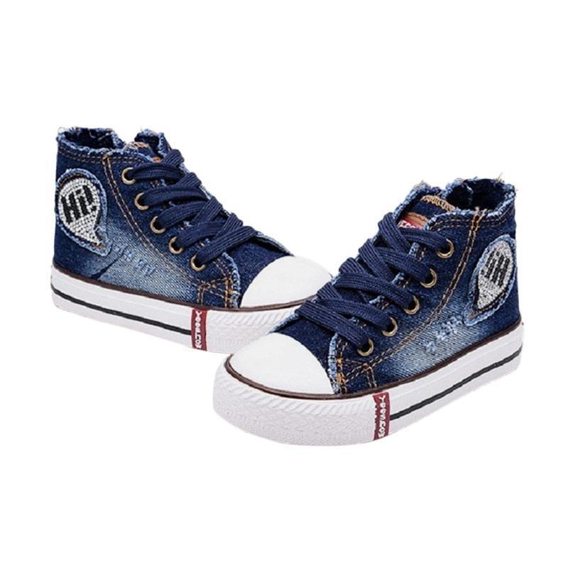 Chloebaby Shop S260 Sneakers Canvas Denim Kids Tali Sepatu Anak - Navy