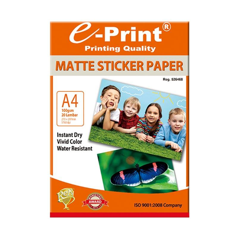 E-Print Sticker Matte Photo Paper A4 [100 gsm/ 20 Sheet]