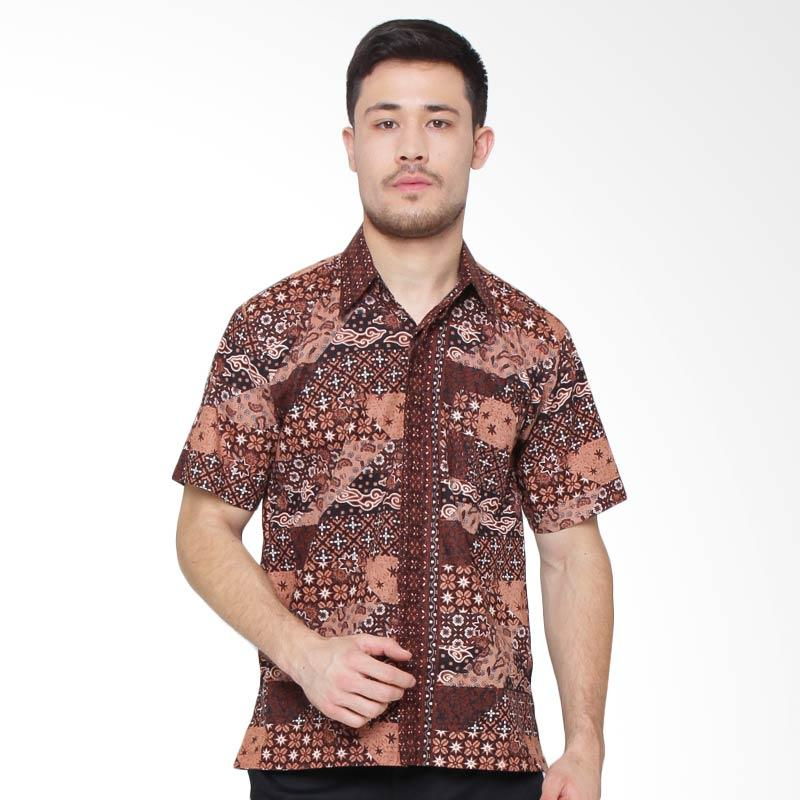 Jening Batik Short Sleeve Kemeja Pria - Brown RAFA-008