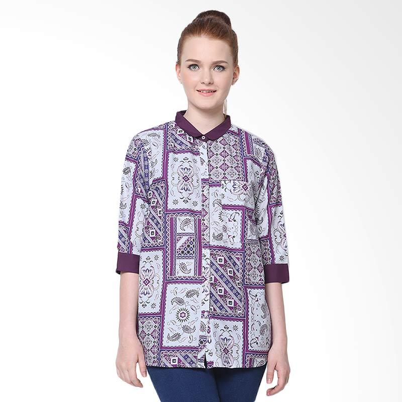 Days by Danarhadi Women Kotak Asimetris Collar Shirt - Purple