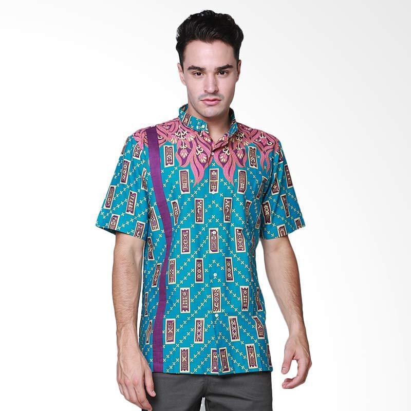 Days by Danarhadi Men Kerton Sinebar Neck Details Shirt Kemeja Pria - Turqoise