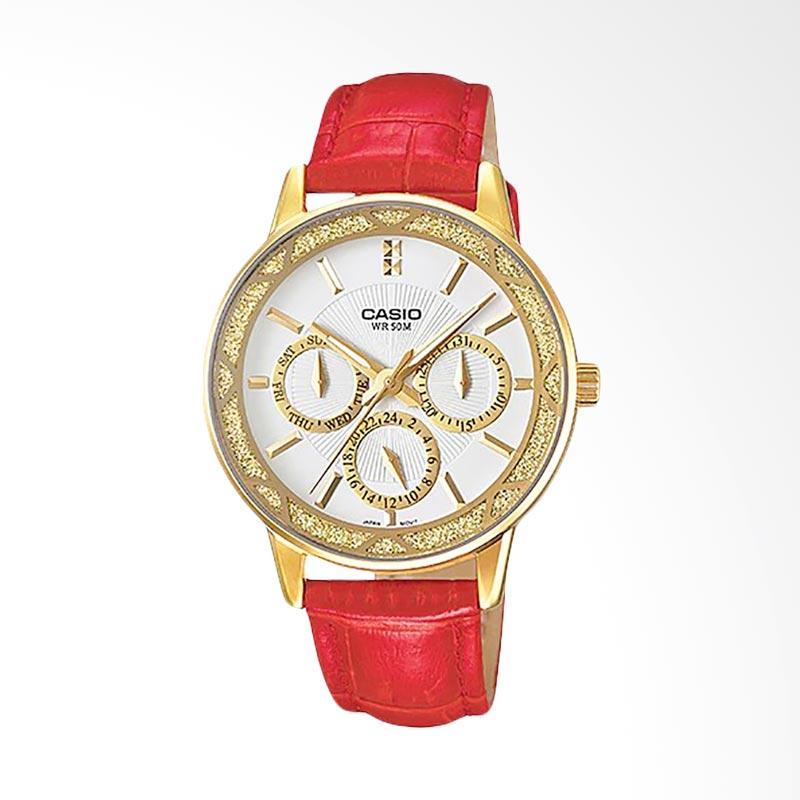 CASIO LTP-2087GL-4AVDF Enticer Ion Plated Leather Strap Ladies Jam Tangan Wanita - White Gold Red