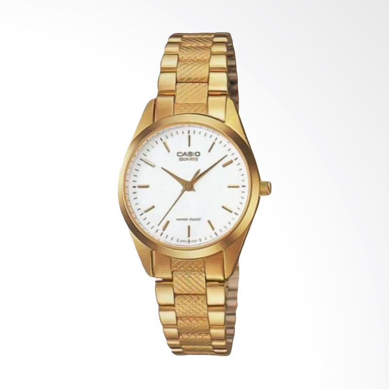 Casio LTP-1274G-7ADF - Enticer Ladies White Dial Stainless Steel Jam Tangan Wanita - Gold