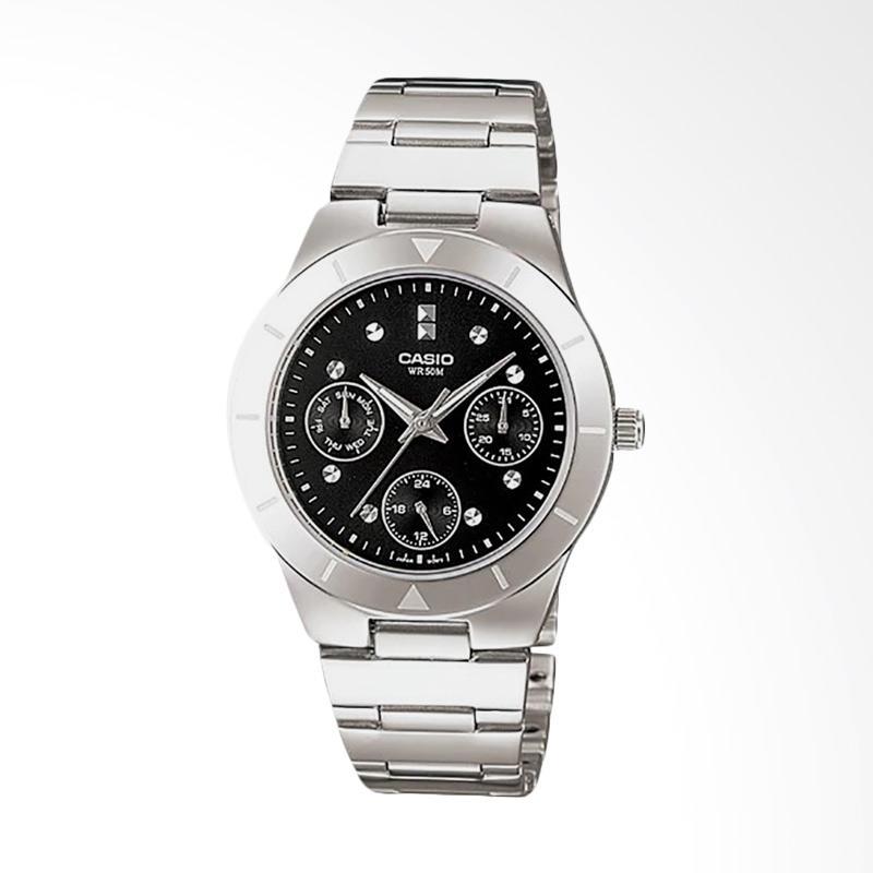 Casio LTP-2083D-1AVDF Enticer Ladies Dial Ion Plated Jam Tangan Wanita - Black