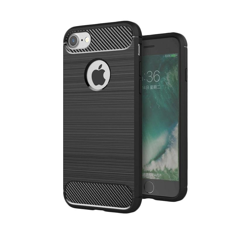 Ipaky Carbon Fiber Matte Softcase Casing for IPhone 6 or 6S - Black