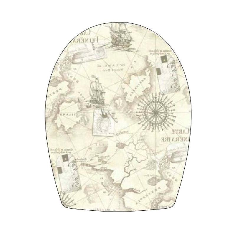 Epinidithouse Peta Dunia Toilet Cover Sticker - Cream