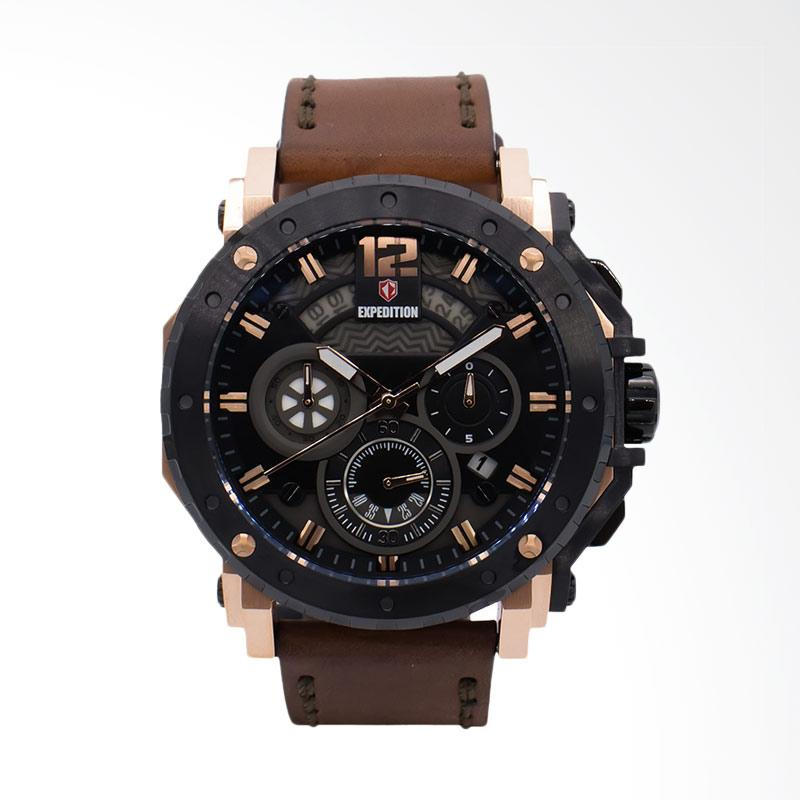 Expedition Black Dial Brown Leather Strap Jam Tangan Pria - Brown EXF-6402-MCLBRBA