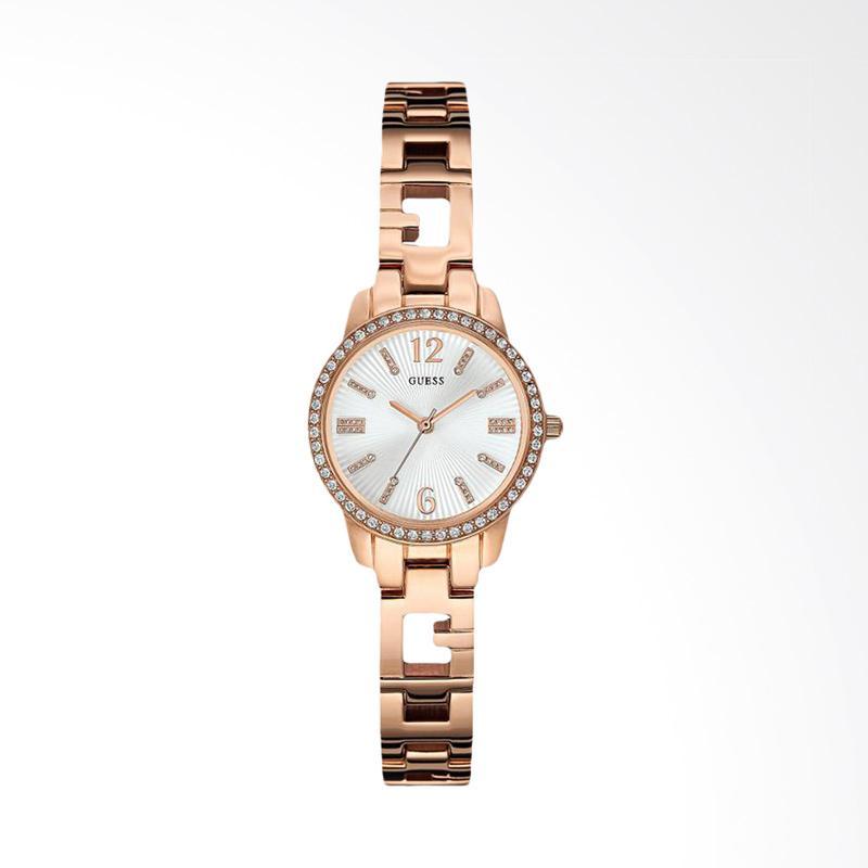 Guess U0568L3 Women Silver Sunray Dial Iconic Rose Gold-tone Logo Watch Jam Tangan Wanita