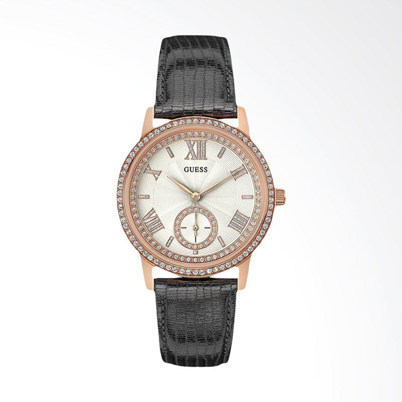 Guess U0642L3 Women White Dial Rose Gold Stainless Steel Case Leather Strap Jam Tangan Wanita