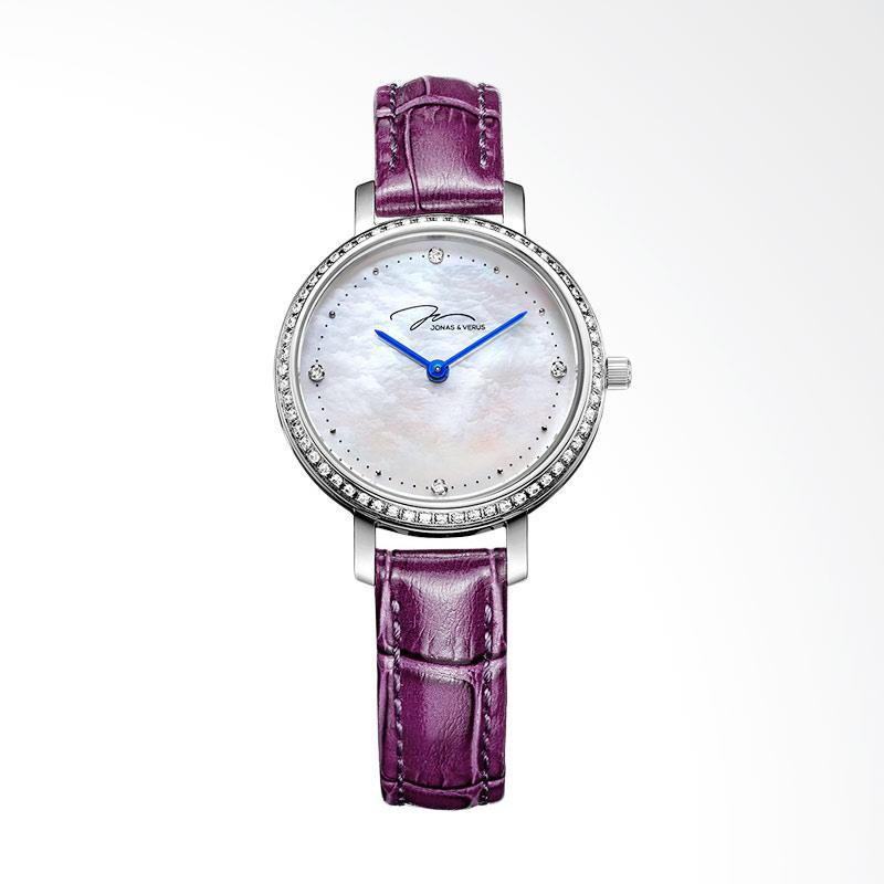 Jonas Verus X00719-Q3.WWWLRD Quartz Minimalist Leather Strap Jam Tangan Wanita - Purple