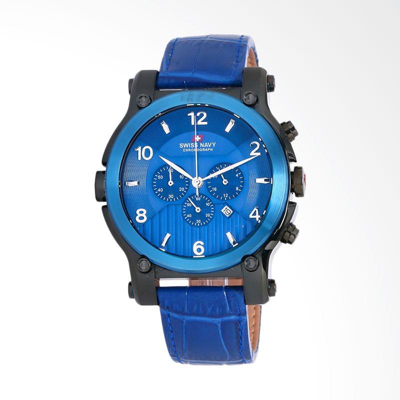 SWISS NAVY Man Chronograph Blue Pattern Dial Blue Leather Strap Jam Tangan Pria - Blue 8309ABBLBL