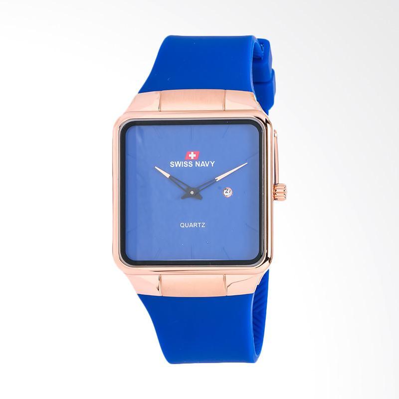 Swiss Navy Blue Dial Rose Gold Case Blue Jam Tangan Pria - Blue 8312MRGBLBL