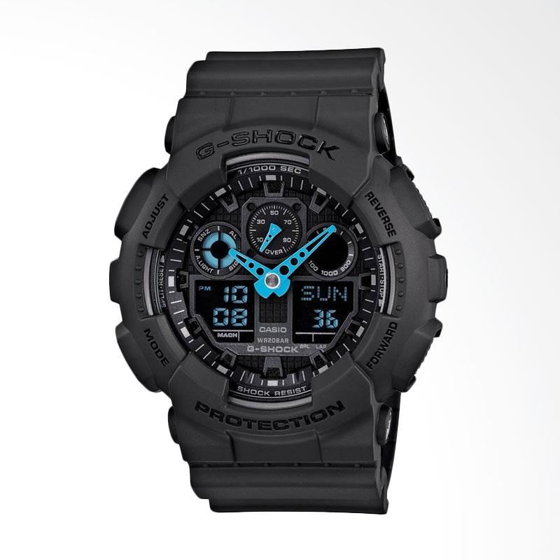 Casio Men's G-Shock Analog-Digital Watch Jam Tangan Pria - Grey Neon Blue GA-100C-8ACR