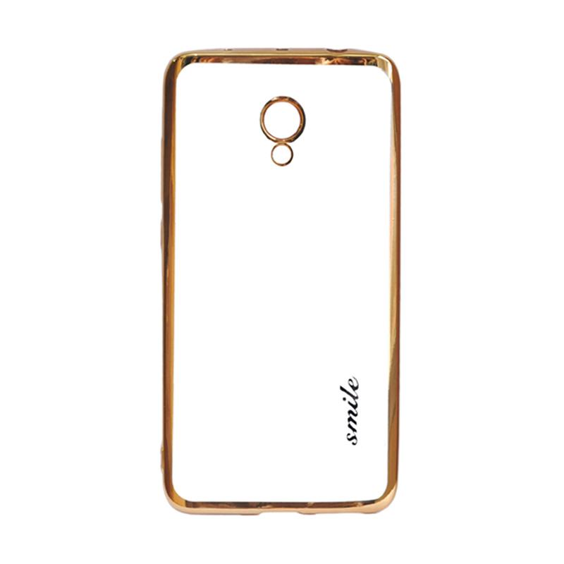 SMILE Ultrathin Shining List Chrome Softcase Casing for Meizu M5 Note - Gold