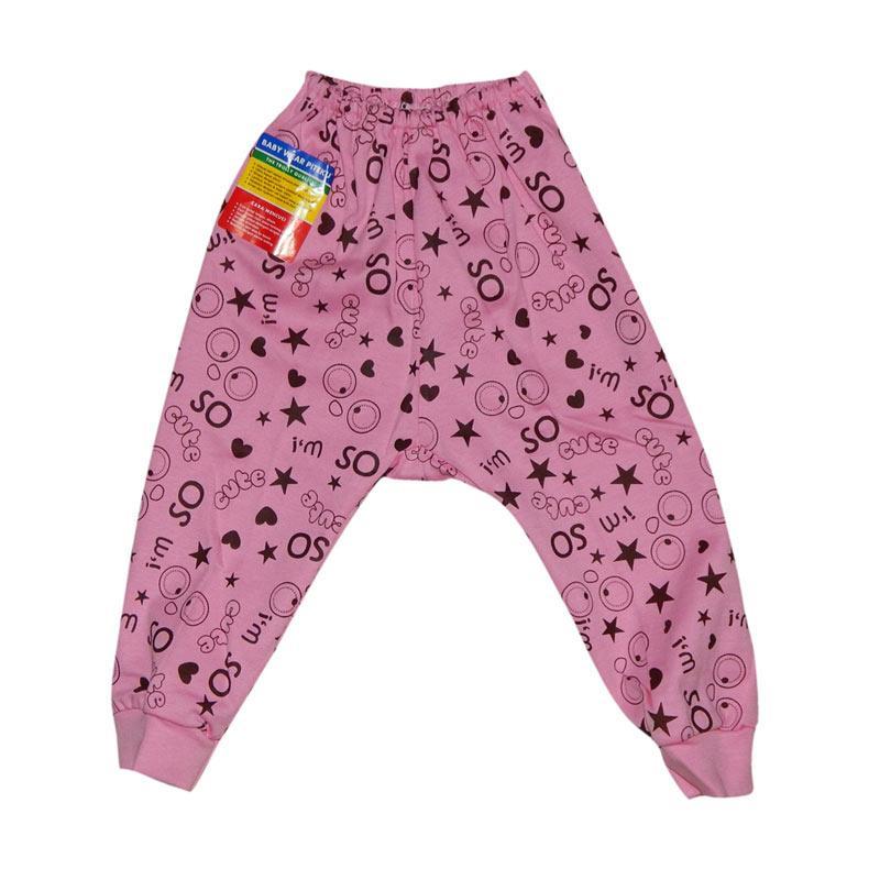 Piteku Motif Celana Panjang Bayi - Pink [3-6 m]