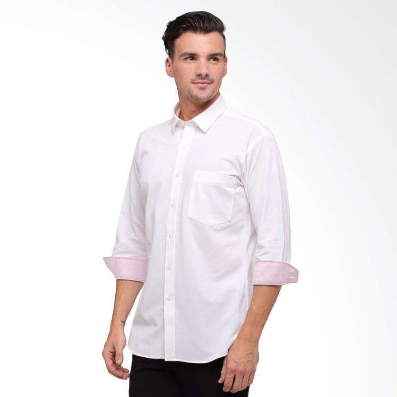 GT Man Long Sleeves Shirt Kemeja Pria - White [KGT014WH]