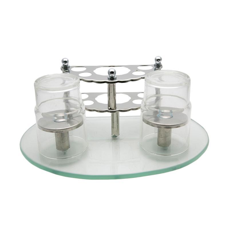 HAN 6005 Rak Sikat Gigi dengan 2 Gelas Kaca - Perak