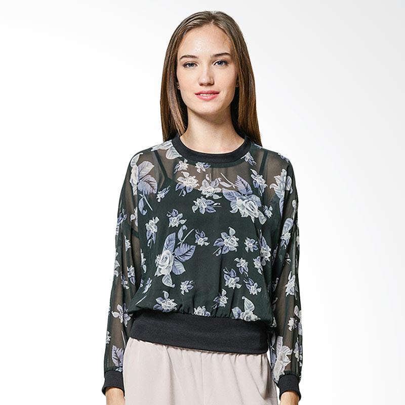Minimal Sheer Printed Sweatshirt Ash Roses Combo Atasan Wanita