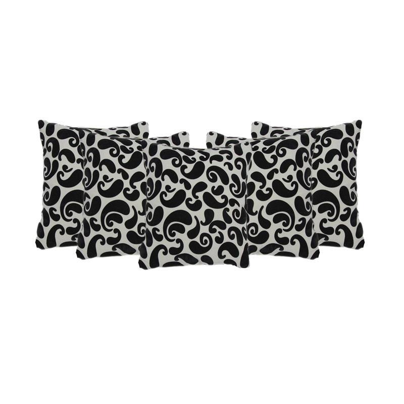 Tren-D-Home Flocking Sarung Bantal Sofa - Putih Hitam [43 cm x 43 cm/5Pcs]