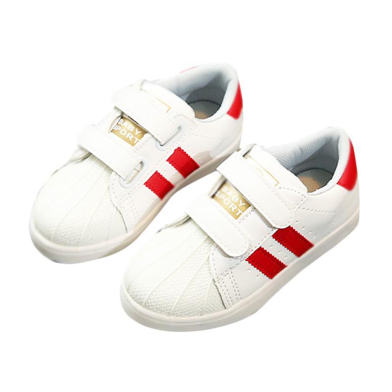 Chloebaby Shop Daldas Stripe LED Sneakers Light Up Flashing Shoes Sepatu Anak - Red