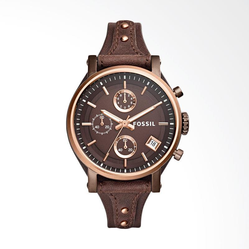 Fossil ES4286 Original Boyfriend Chronograph Brown Leather Watch Jam Tangan Wanita