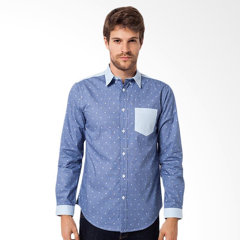 A&D Fashion Mens Long Sleeve Shirt - Blue Comby [MS 746A]