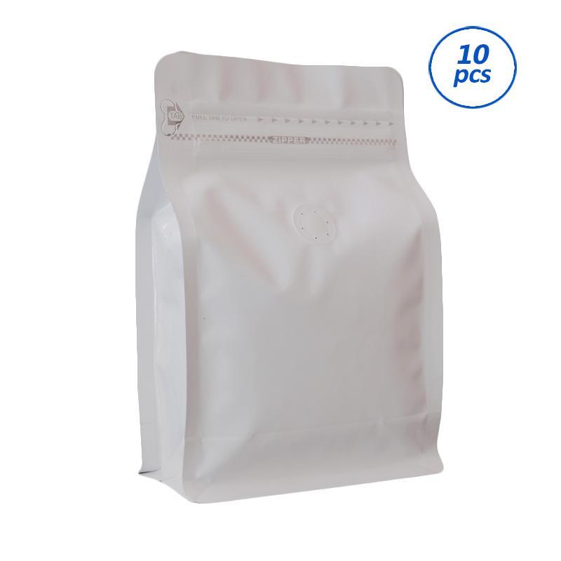 Worcas Coffee Bag Box Pouch With Zipper - White [250 g/ 10 pcs]