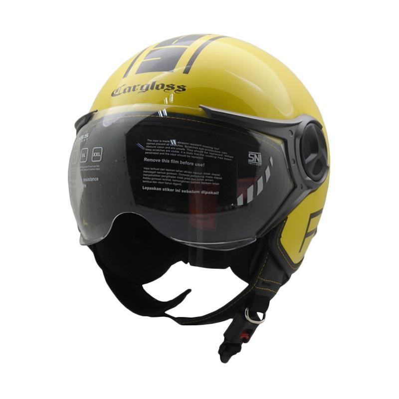 Cargloss YR Protect Fitur Kacamata Helm Half Face Yellow