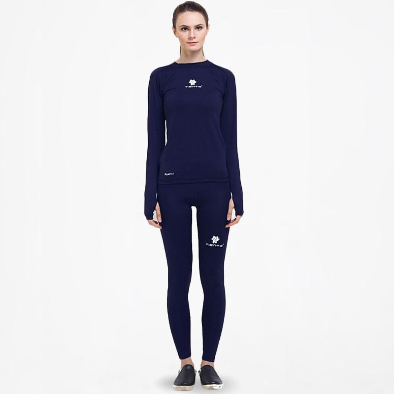 Jual Tiento Setelan Baselayer Manset Thumbhole Celana Leging Pakaian Olahraga Wanita Navy Online Oktober 2020 Blibli Com