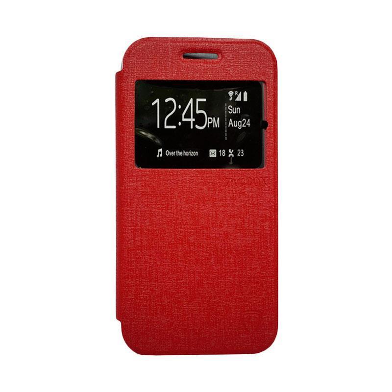 Zagbox Flip Cover Casing for Advan S5E - Merah