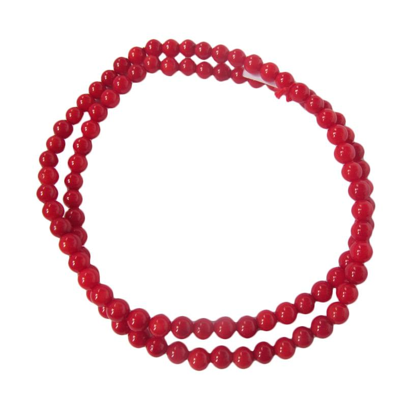 Ansor Silver Coral Gelang - Red [6 mm/ikat 3]