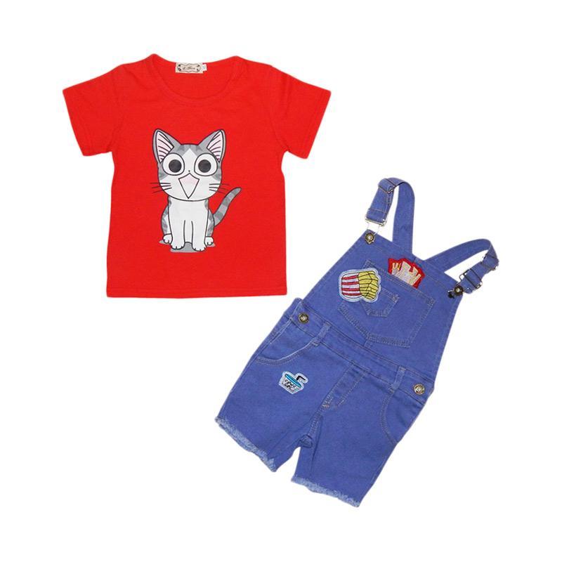 L.Nice Setelan Overall Cat Jeans Anak