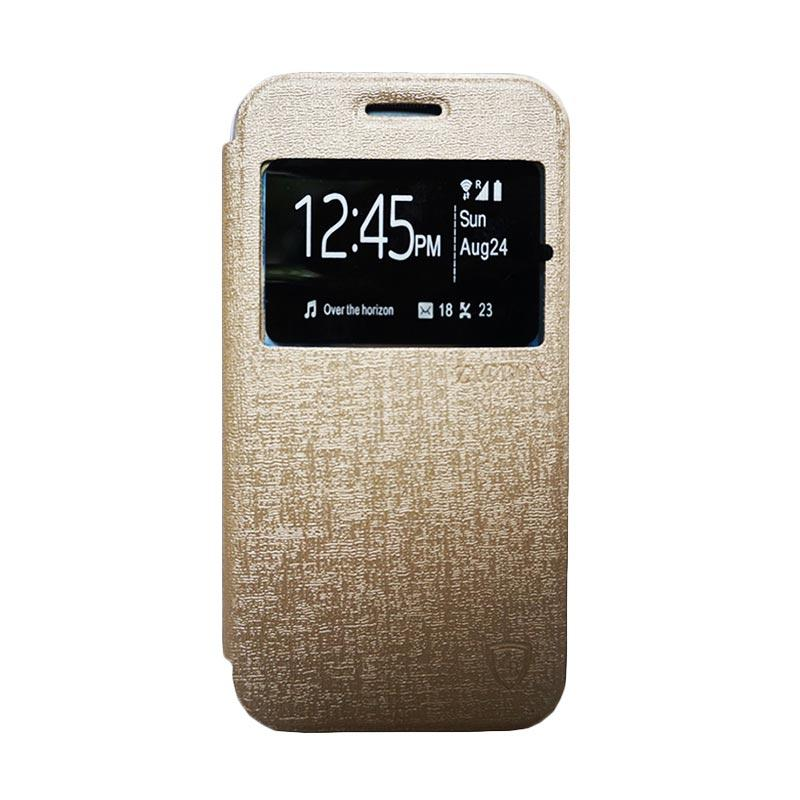 Zagbox Flip Cover Casing for Lenovo A5000 - Gold