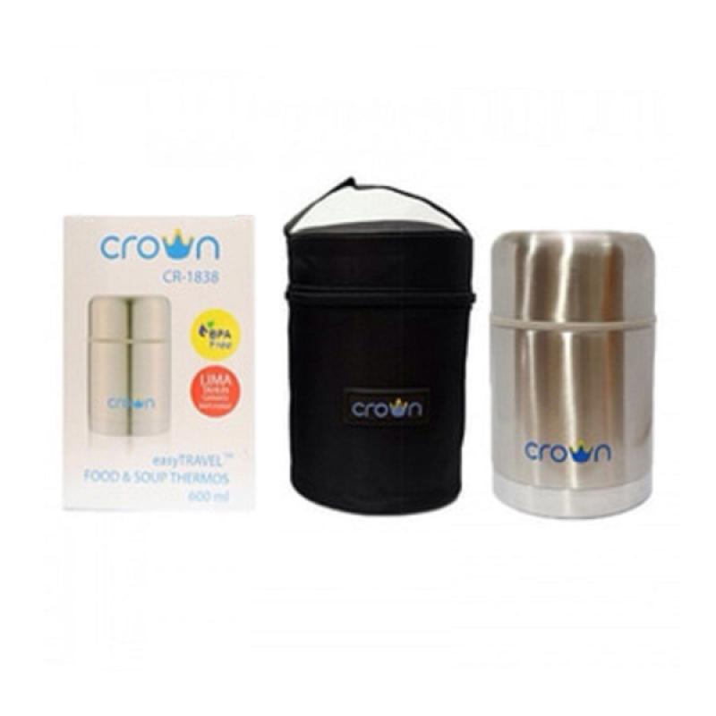 harga Crown Food and Soup Thermos 600 ml Termos Makan Bubur MPASI Bayi Silver with Carrying Bag Blibli.com