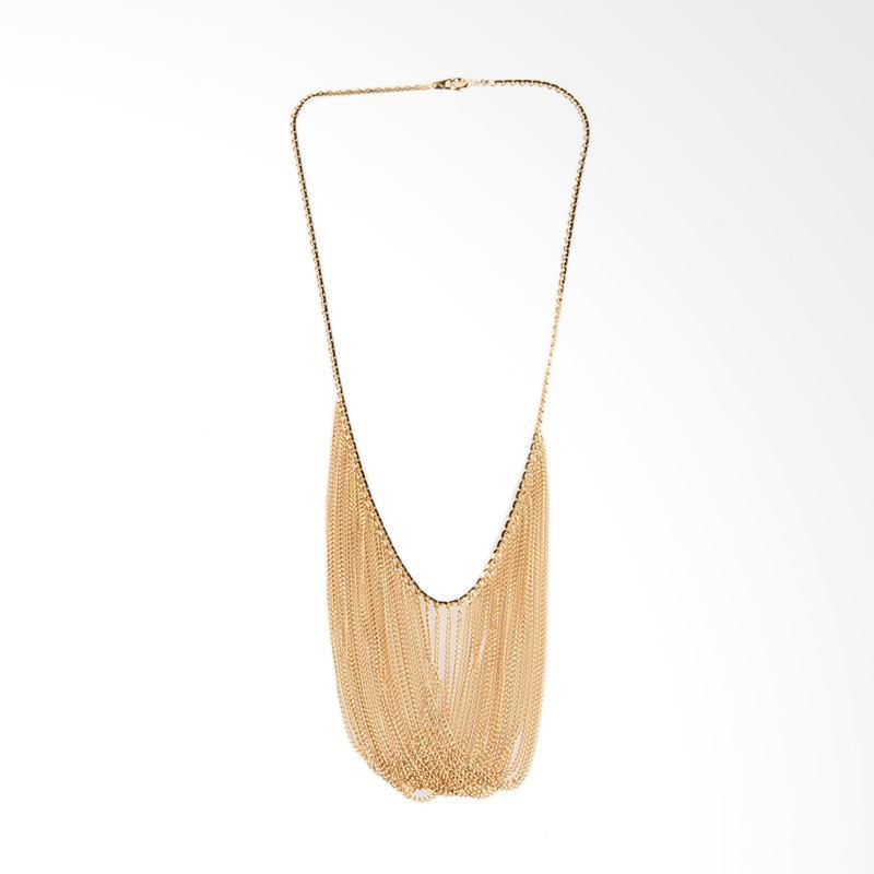 1901 Jewelry Statement Fringe Necklace (Lapis Emas 24K)  KL.747.HR40 - Gold